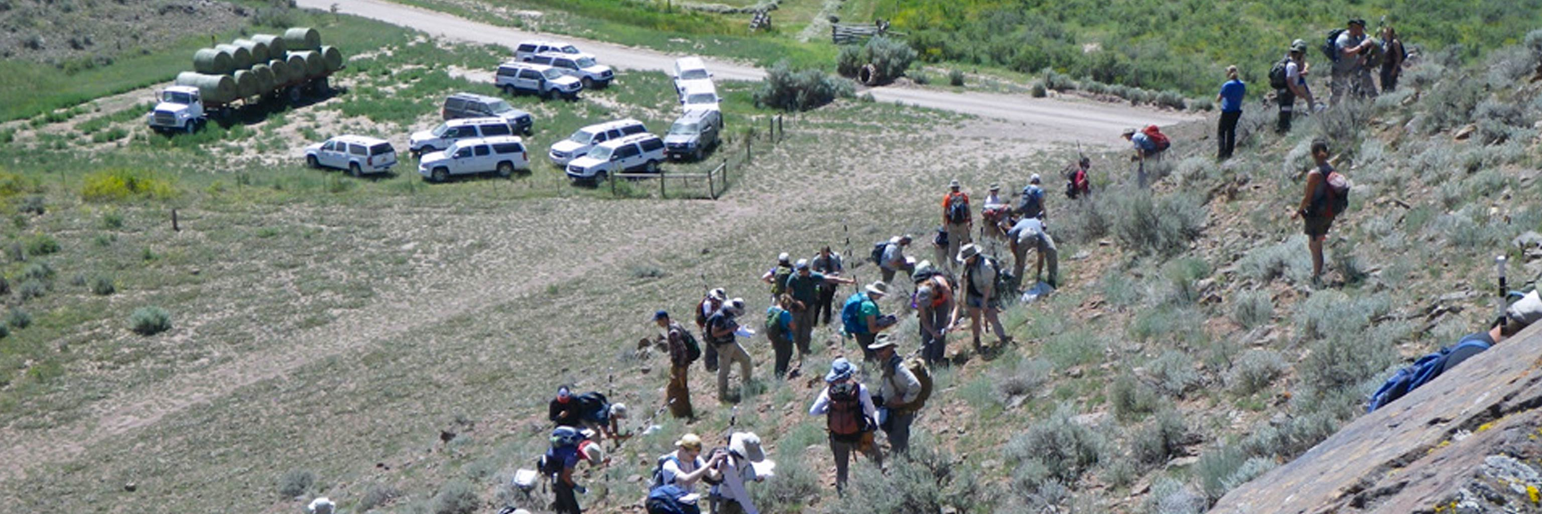 students start the climb up a hill